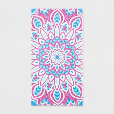 Medallion Beach Towel Pink/Blue - Sun Squad™