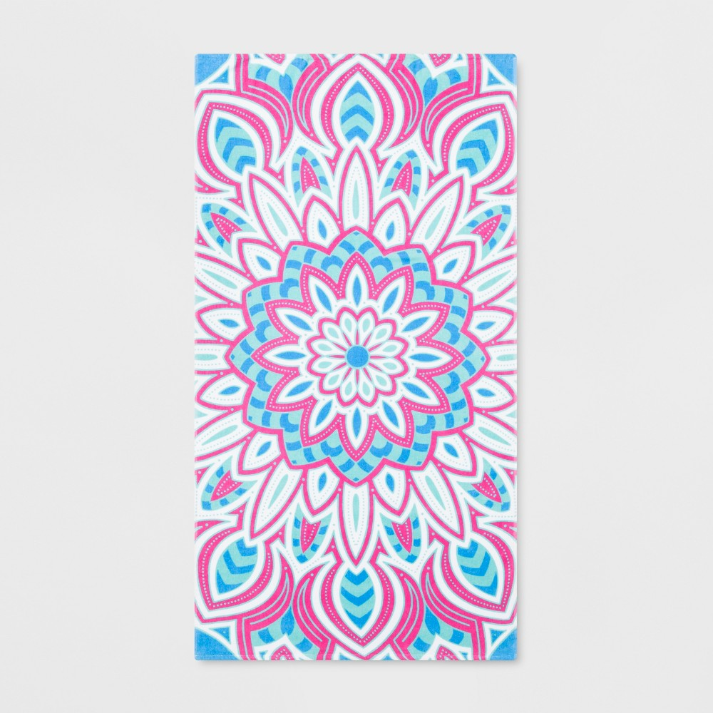 Medallion Beach Towel Pink/Blue - Sun Squad