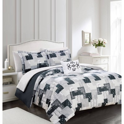 King 8pc Tethys Bed In A Bag Duvet Set Black - Chic Home Design