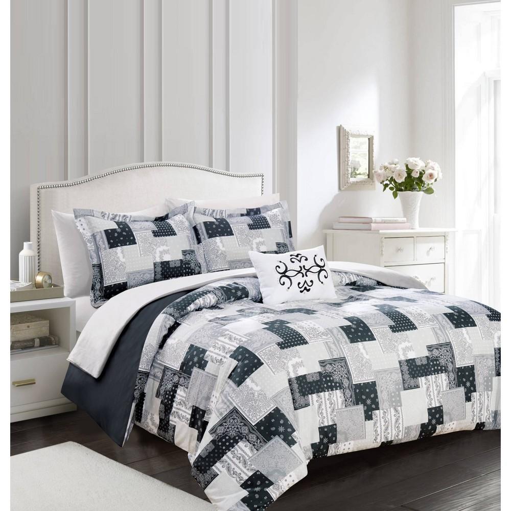 King 8pc Tethys Bed In A Bag Duvet Set Black Chic Home Design