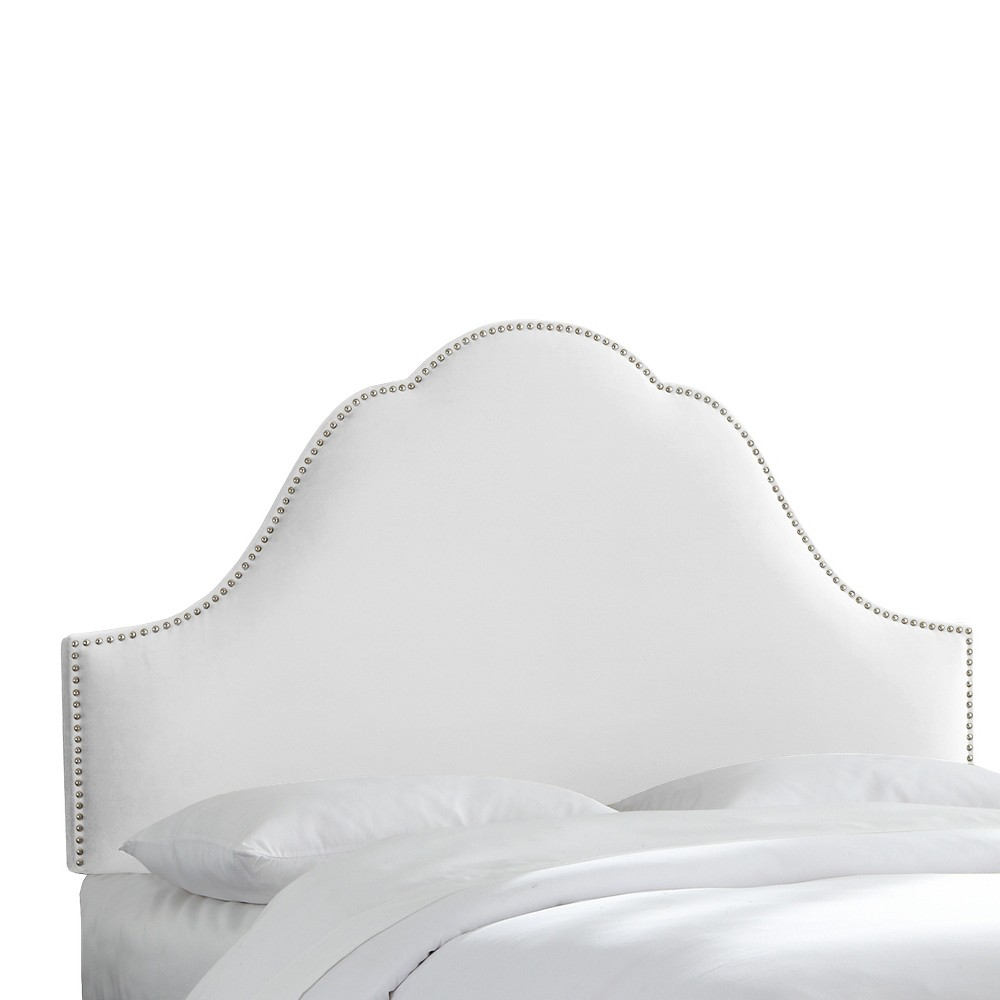 Arch Nail Button Headboard - White - King - Skyline Furniture