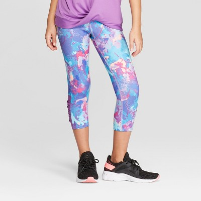 f7f5793a81ff1a Girls  Mesh Pieced Printed Capri Leggings - C9 Champion®