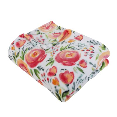 """50""""x70"""" Flora Flowers Flannel Fleece Folded Throw Blanket Pink - Décor Therapy"""