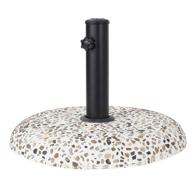 Sahara Round Concrete and Steel Umbrella Base - Colorful Stone and Black - Christopher Knight Home