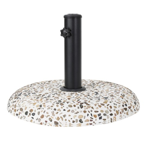 Sahara Round Concrete and Steel Umbrella Base - Colorful Stone and Black - Christopher Knight Home - image 1 of 4