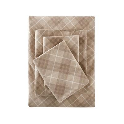 Flannel Print Cotton Sheet Set (King)Tan Plaid
