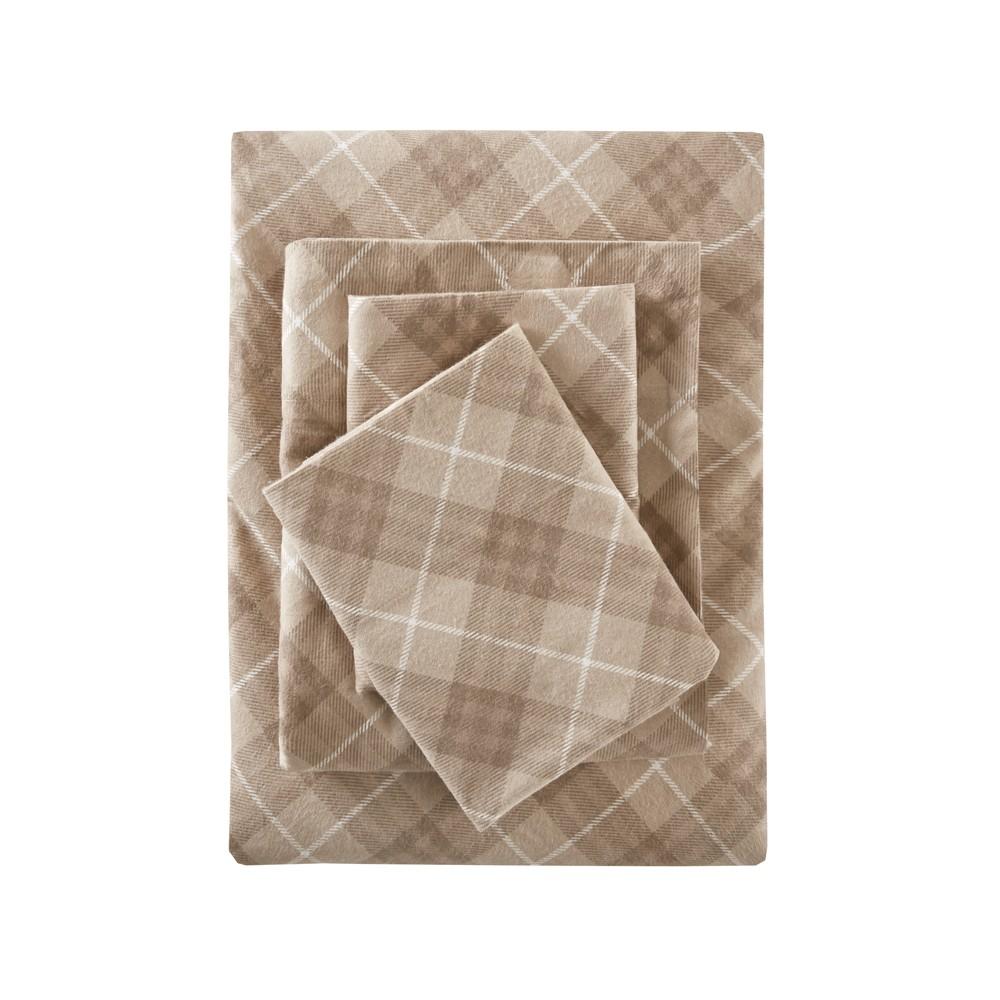 Flannel Print Cotton Sheet Set (California King) Tan Plaid