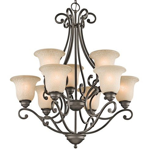 """Kichler 43226 Camerena 9 Light 30"""" Wide 2-Tier Chandelier with Scavo Glass Shades - image 1 of 1"""