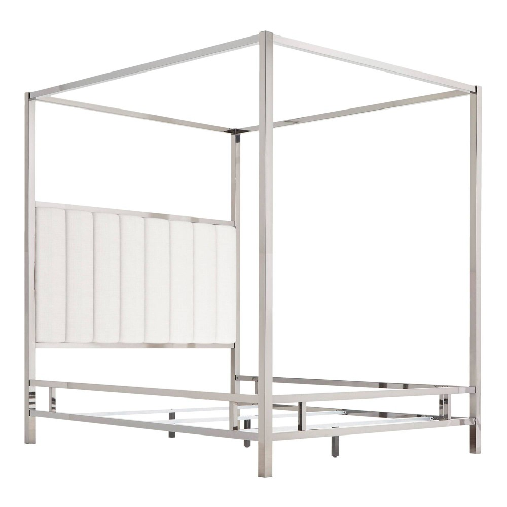 Queen Manhattan Canopy Bed with Vertical Channel Headboard White - Inspire Q