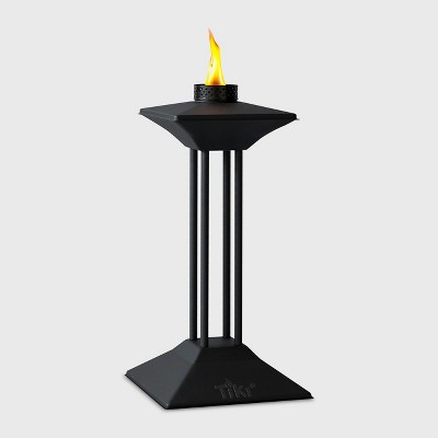 TIKI Square Pedestal Patio Torch - Black