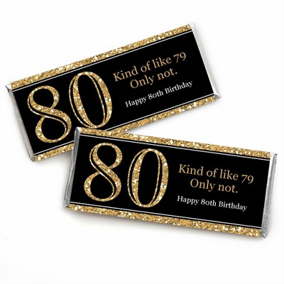 Big Dot of Happiness Adult 80th Birthday - Gold - Candy Bar Wrappers Birthday Party Favors - Set of 24
