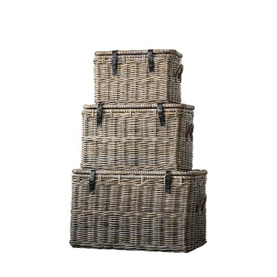Set of 3 Rattan Baskets with Lids and Leather Buckles Brown - 3R Studios