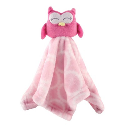 Hudson Baby Unisex Baby Animal Face Security Blanket - Pink Owl One Size