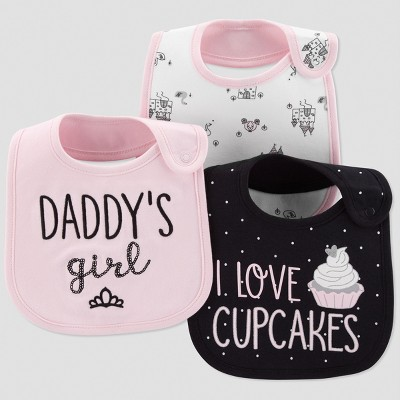 Baby Girls' 3pk I Love Cupcakes Bib - Just One You® made by carter's Black