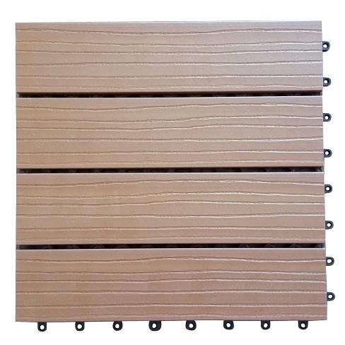 Vifah 11 Tiles Box Eco Friendly Wood Plastic Composite Interlocking Decking Tile Brown