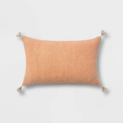 Washed Linen Lumbar Throw Pillow with Tassels - Threshold™