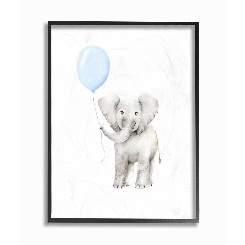 "Image of ""11""""x1.5""""x14"""" Baby Elephant with Blue Balloon Watercolor Framed Giclee Texturized Art - Stupell Industries"""