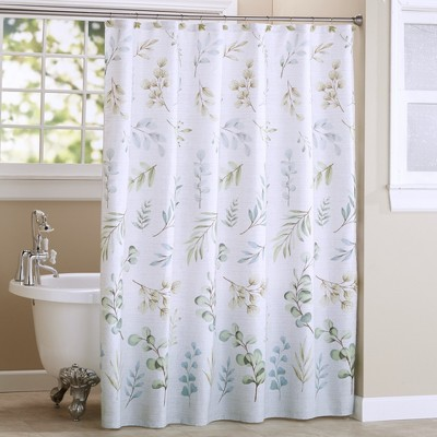 Lakeside Botanical Leaves Bathroom Shower Curtain with 12-Ring Grommet Top