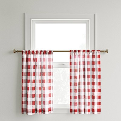 "42""x36"" Curtain Tier Small Check Red - Threshold™"