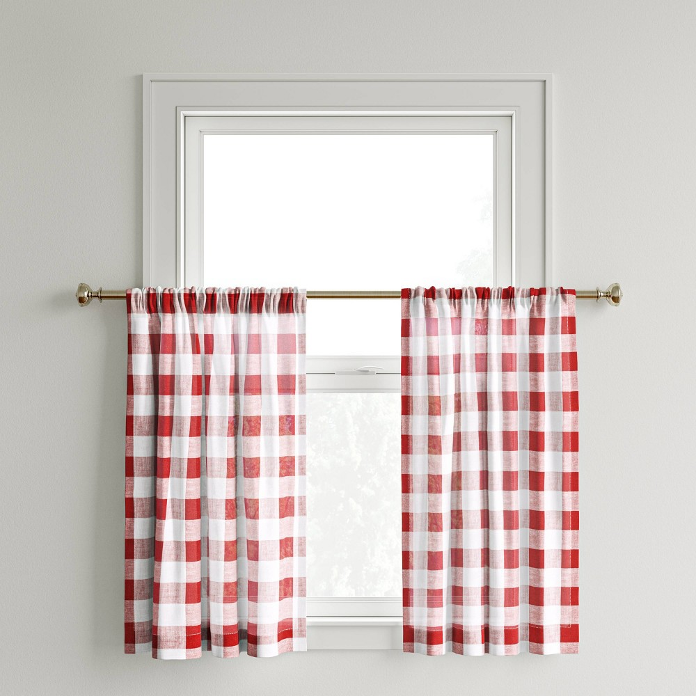 "Compare 42""x36"" Curtain Tier Small Check Red - Threshold™"