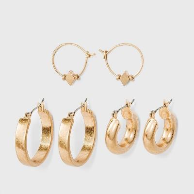 Worn Gold Hoop Earring Set 3pc - Universal Thread™ Gold