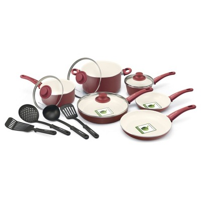 GreenLife 14pc Soft Grip Ceramic Non-Stick Cookware Set Burgundy