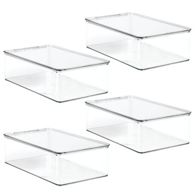 mDesign Stackable Closet Shoe Storage Bin Box with Lid, Clear, 4-Pack
