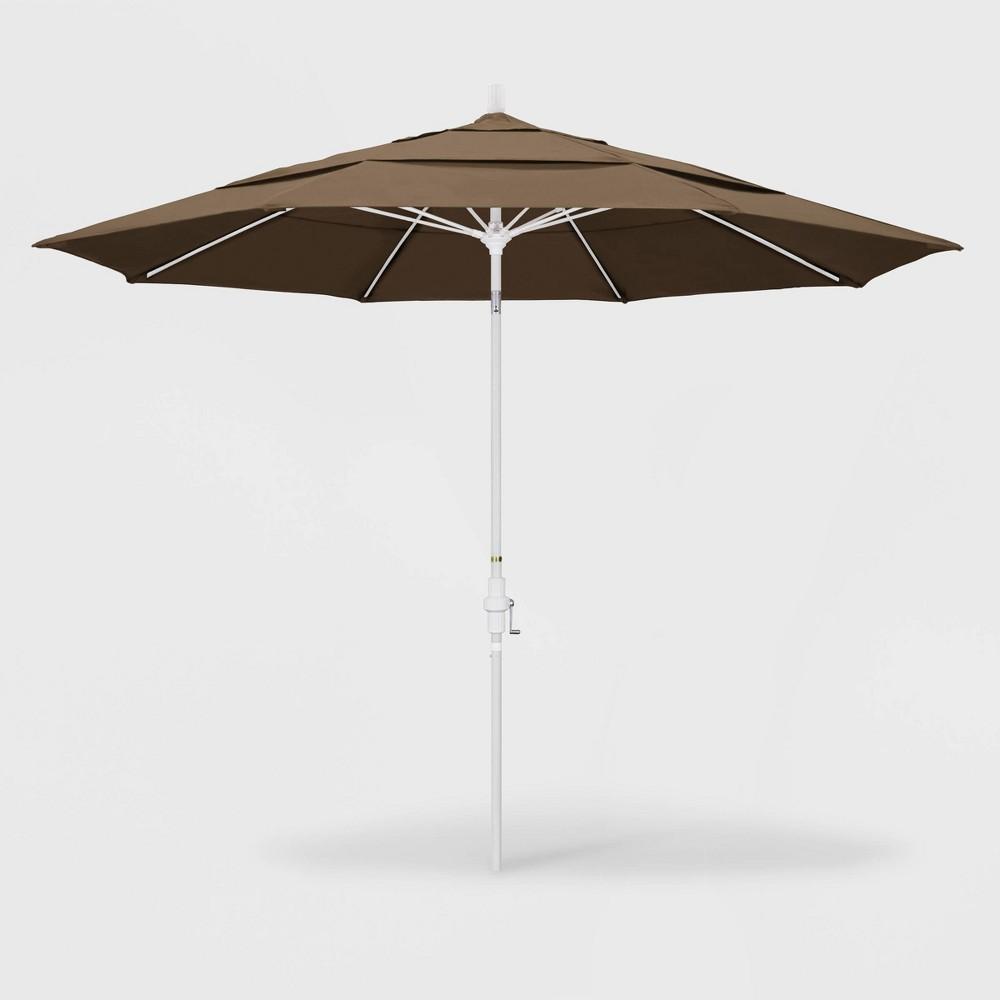 11' Sun Master Patio Umbrella Collar Tilt Crank Lift - Sunbrella Cocoa (Brown) - California Umbrella