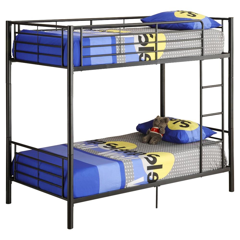 Premium Metal Twin over Twin Bunk Bed - Black - Saracina Home