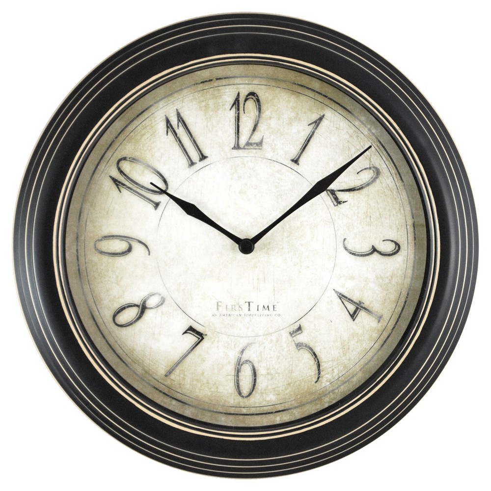 "Image of ""10"""" Round Wall Clock Distressed Black - FirsTime"""