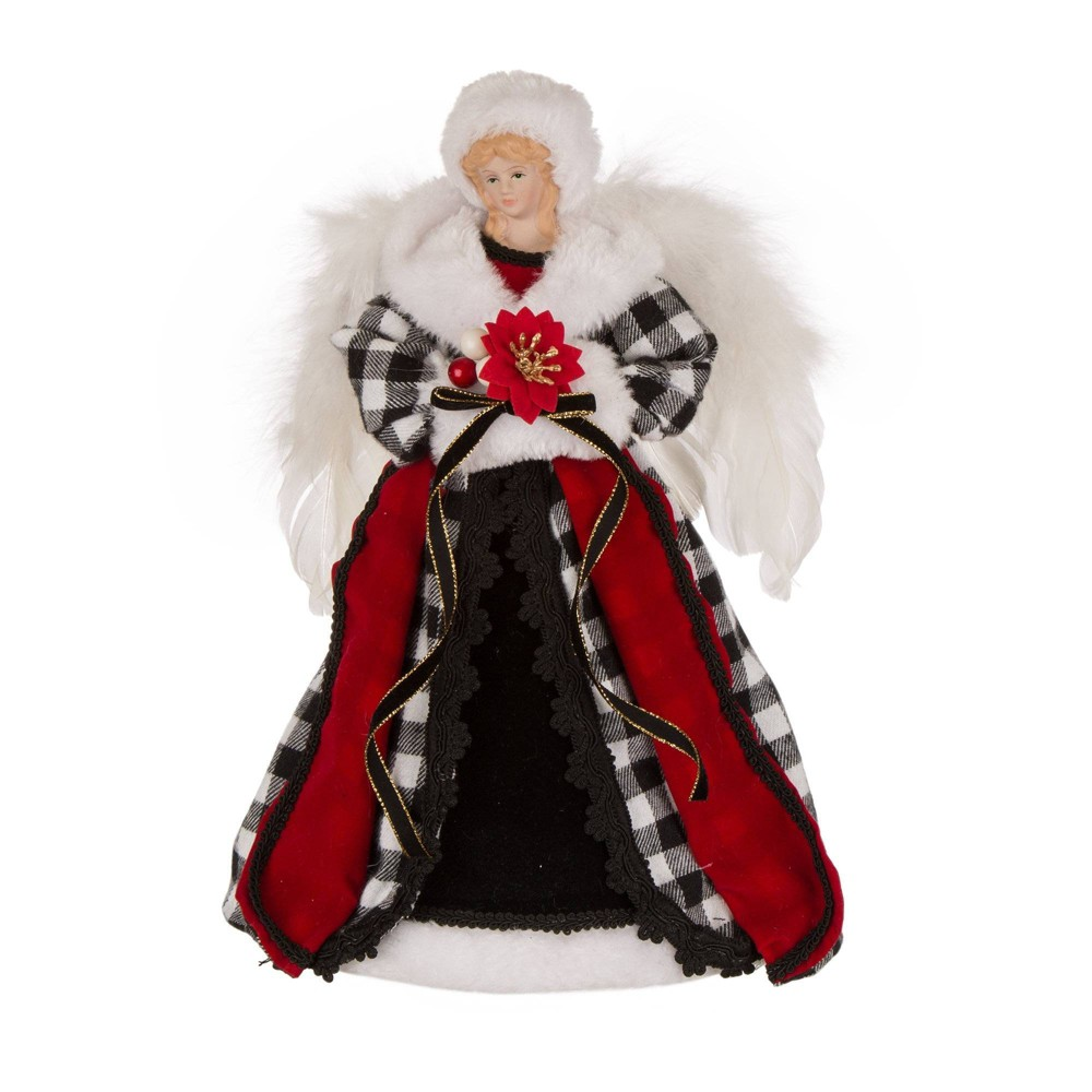 Image of 12in Plaid Angel Tree Topper Black and White - Glitzhome, Black White Multicolored