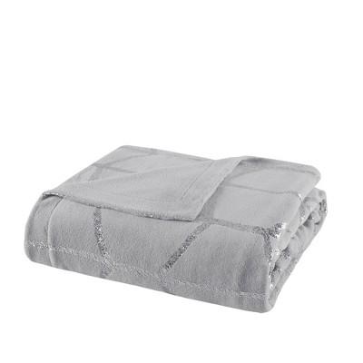50 x60  Arielle Metallic Print Throw Pillow Gray