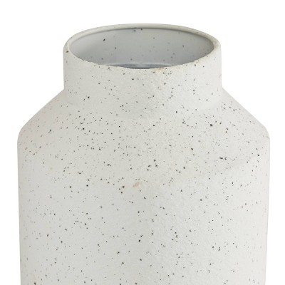 Set of 2 Round White Metal Textured Vase with Beige Striped Base - Olivia & May