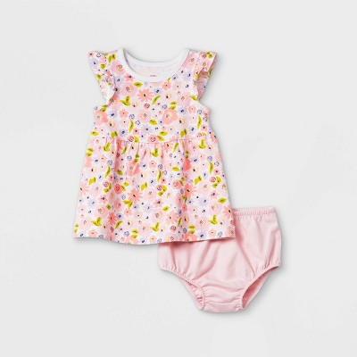 Baby Girls' Floral Ruffle Sleeve Dress with Panty - Cat & Jack™ Light Pink 12M