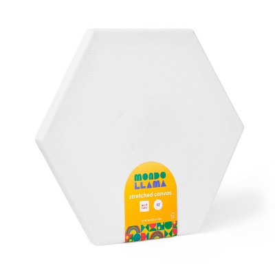 "10"" Hexagon Stretched Canvas White - Mondo Llama™"