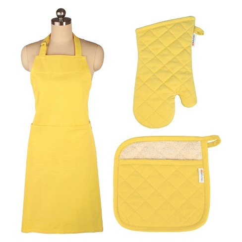 Cooking Apron/Mitt/Potholder Yellow 3pc Set -Mu Kitchen - image 1 of 1