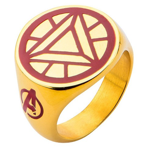 Men's Marvel® Avengers Ironman Stainless Steel Arc Reactor Ring - Gold - image 1 of 2