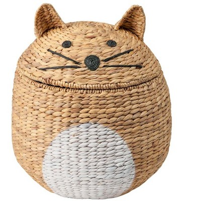 Wind & Weather Woven Cat-Shaped Storage Basket with Lid