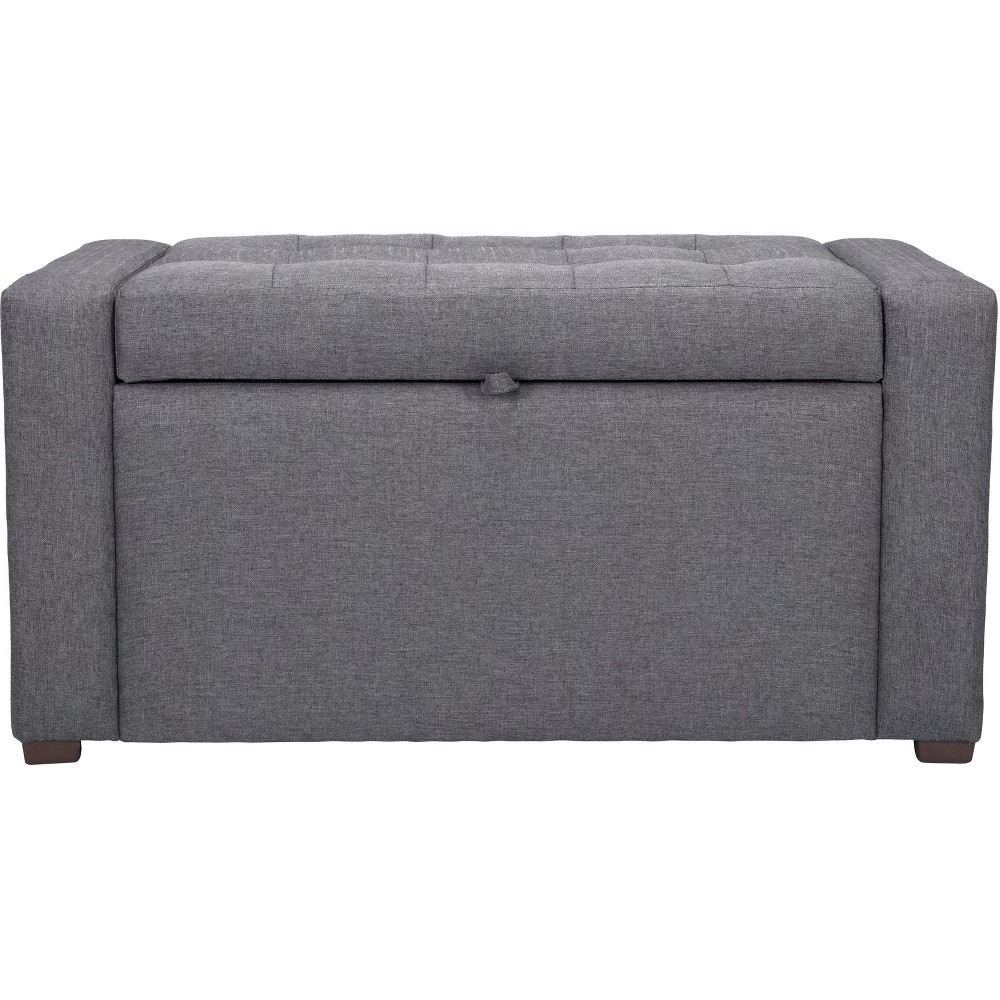 38 Tufted Storage Bench Dark Gray - ZM Home