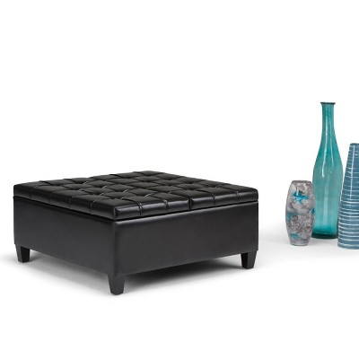 "36"" Elliot Coffee Table Storage Ottoman Faux Leather - WyndenHall : Target"