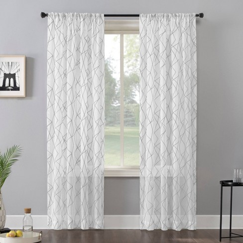 Abstract Geometric Embroidery Light Filtering Rod Pocket Curtain Panel - No. 918 - image 1 of 4