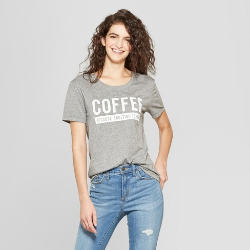 Women's Short Sleeve Coffee Because Adulting Graphic T-Shirt - Fifth Sun (Juniors') Heather Gray - image 1 of 2