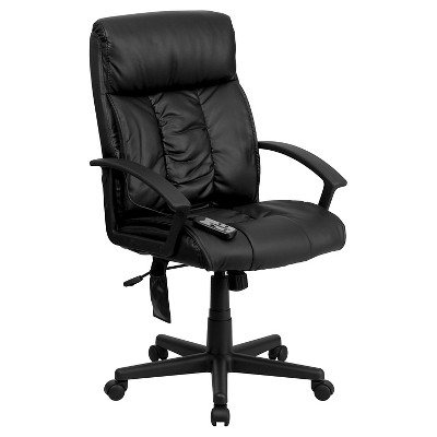 Massaging Executive Swivel Office Chair Black Leather- Flash Furniture