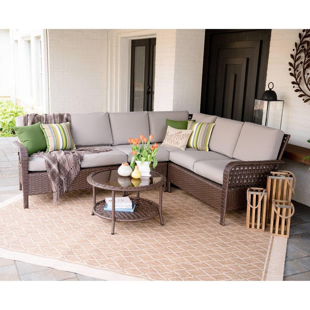 Bessemer 5pc Patio Seating Set with Sunbrella Fabric - Tan - Leisure Made
