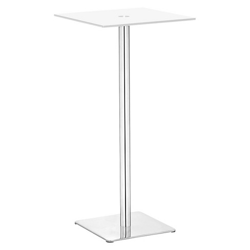"Elegant 41"" Painted Tempered Glass and Brushed Stainless Steel Square Pub Table - White - ZM Home - image 1 of 1"