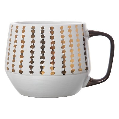 Clay Art Tapered Base Mug 21oz Stoneware White with Gold Dots