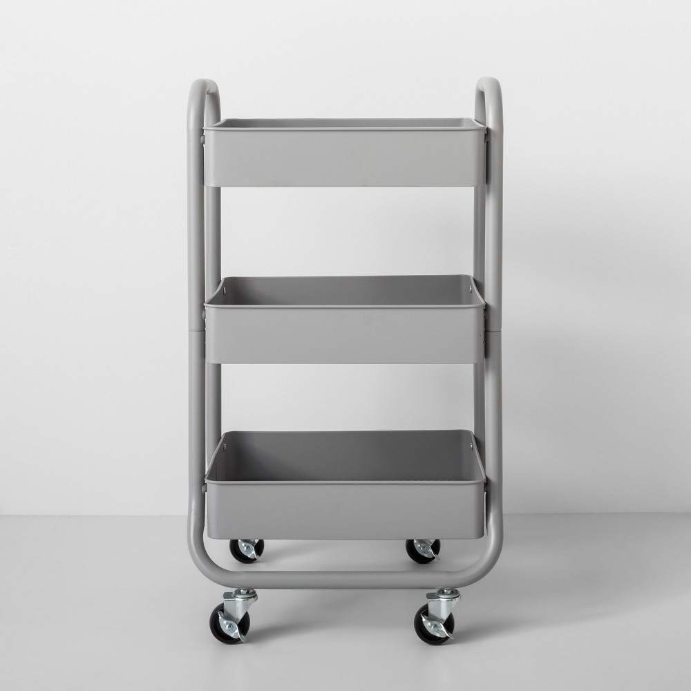 Three Tier Metal Utility Cart Gray - Made By Design