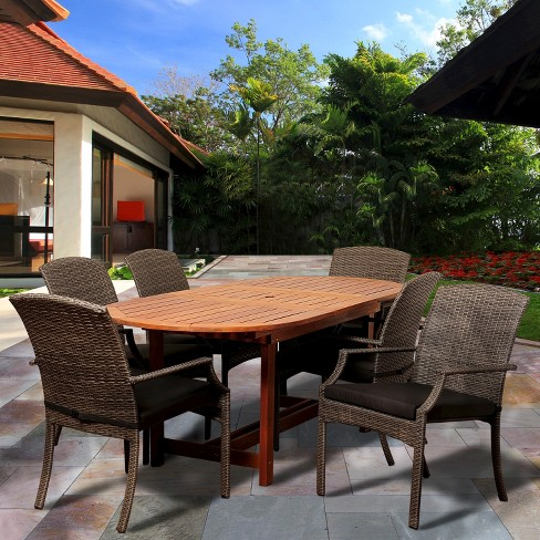 Myers 7-Piece Wood/Wicker Oval Patio Dining Furniture Set - image 1 of 4