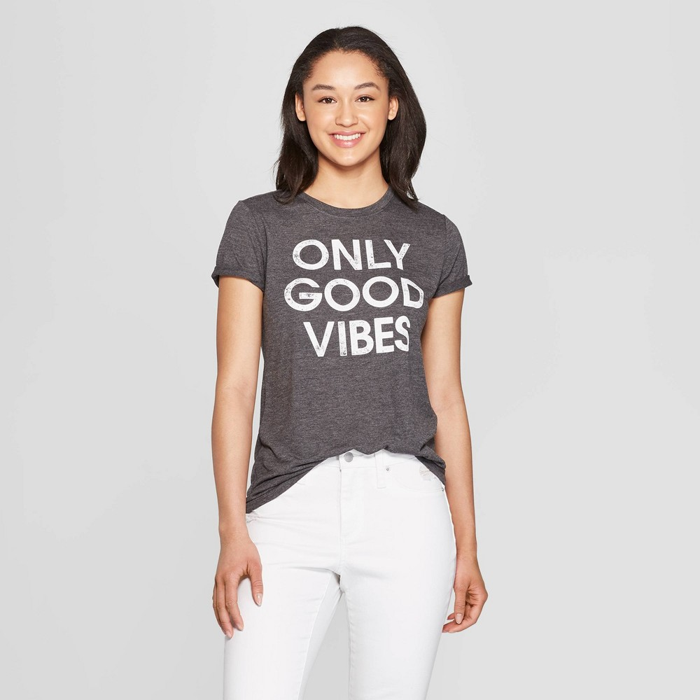 Women's Short Sleeve Round Neck Only Good Vibes Gray T-Shirt - Modern Lux (Juniors') - Charcoal Xxl