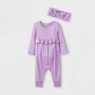 Baby Girls' Cozy Romper with Headband - Cat & Jack™ Purple 0-3M